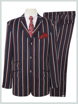 Classic Navy Blue And Burgundy Stripe Suit