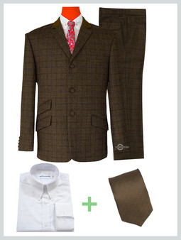 2 piece suit package | Coffee Brown tweed stuning shadow check suit.