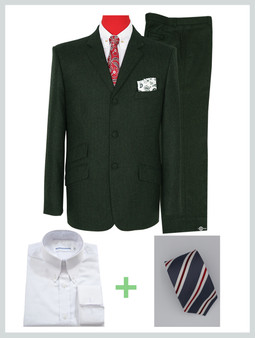 2 piece suit package | Tweed Dark Green Color Mod Suit For Men