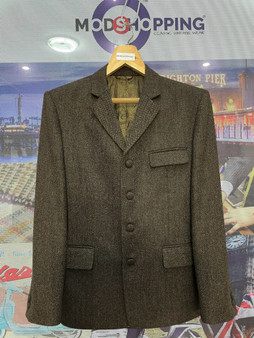 Brown Herringbone Tweed Jacket For Men's