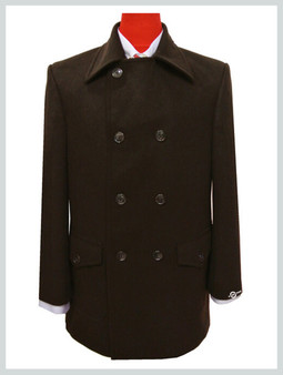 pea coat| tailore mede retro style chocolate colour pea coat mens