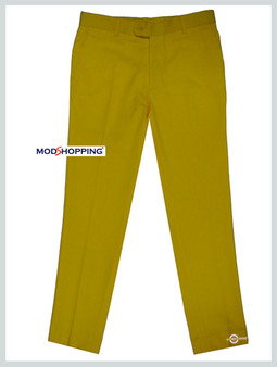 sta press trousers| slim fit cotton yellow sta press trouser