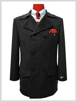 pea coat| tailored made 1960's retro grey and  black pea coat men's