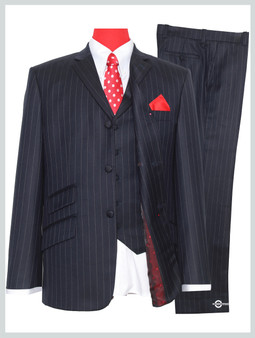 pinstripe 3 piece navy blue suit|60s mod style pinstripe suit,tailored