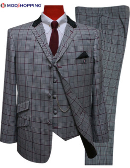 3 piece suit | burgundy prince of wales check suit