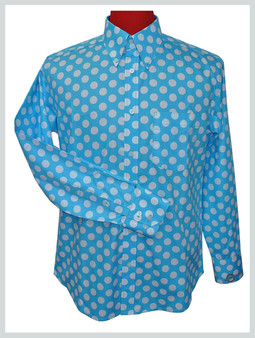 large white dot in sky polka dot shirt