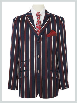 boating blazer| 1960s classic Navy Blue and Burgundy stripe blazer, tailored