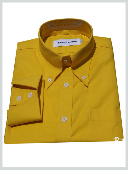 Button down pointed  collar shirt | Yellow color shirt for men