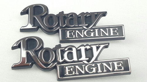 New Genuine Mazda RX-2 RX-3 RX-4 RX-5 RX-7 Pair Rotary Engine Chrome Badge x2