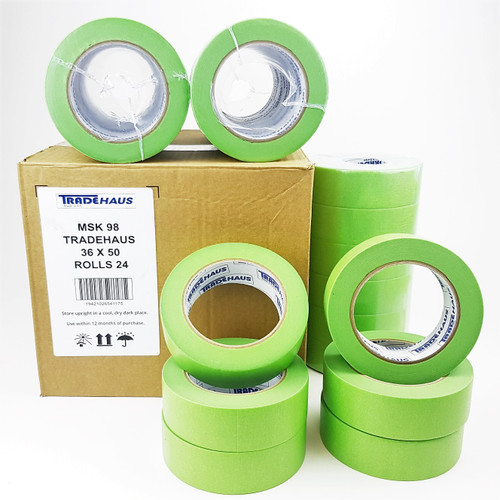 24x Tradehaus High Temperature Masking Tape Roll 36mm x 50m Automotive Painting