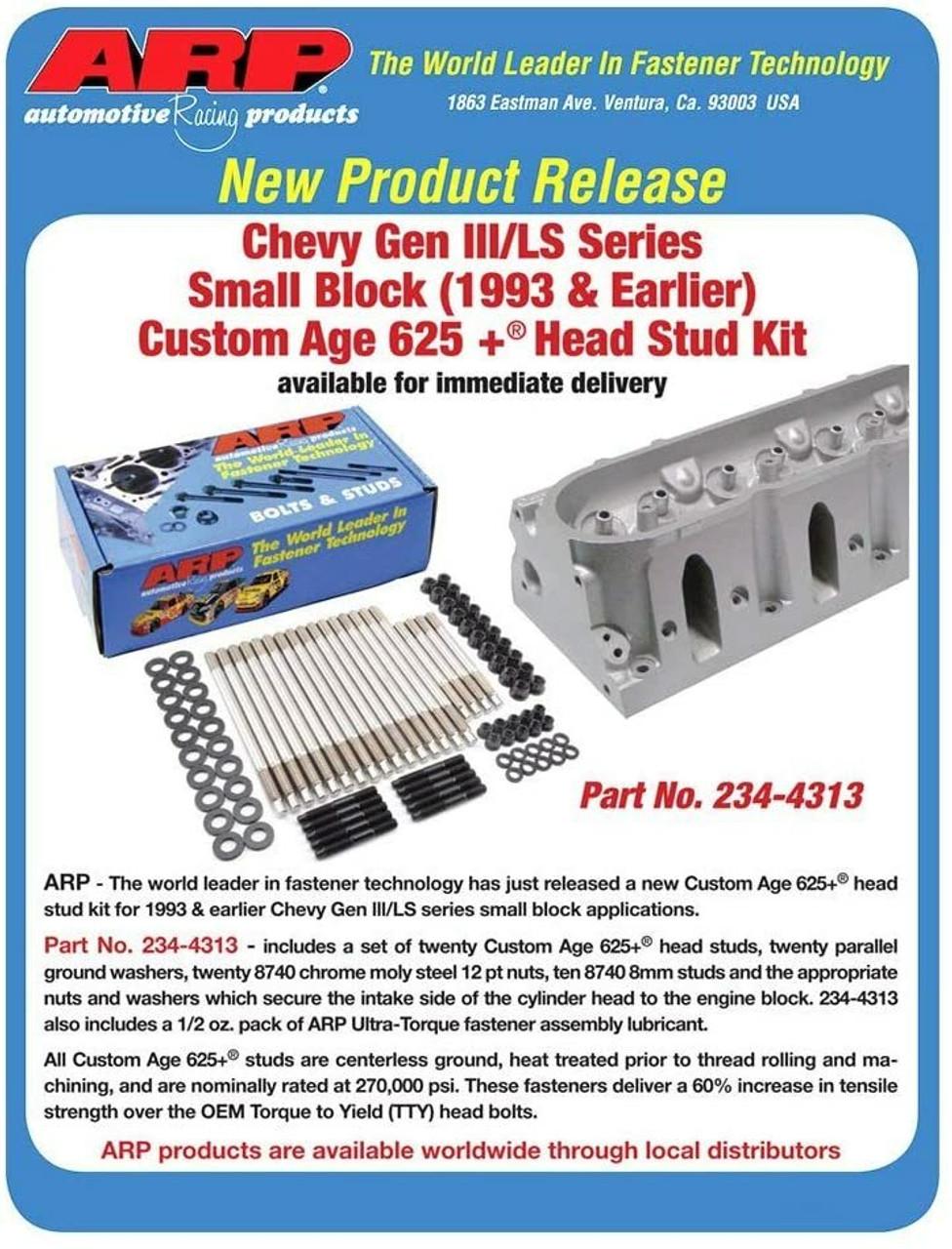 ARP 234-4314 Head Studs 625+ 2004 - 2014 Cylinder Head Stud Kit GEN III/IV LS 4.8 5.3 5.7 6.0 6.2 7.0