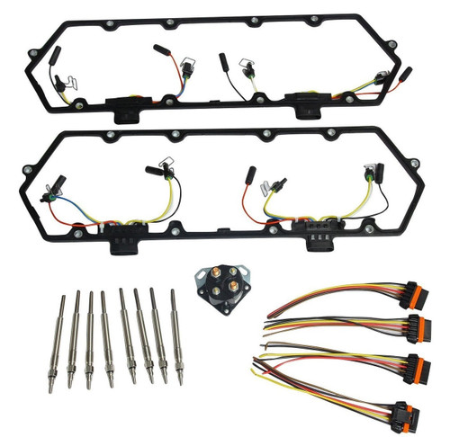 7.3 Diesel Powerstroke Valve Cover Gasket, 8 Glow Plugs, Relay and Injector Harness Fits Ford 7.3L 1994-1997 F250 F350
