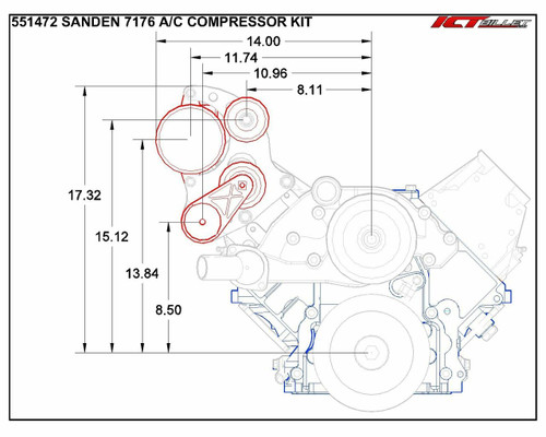 LS - Sanden 7176 Mini A/C Air Conditioner Compressor Bracket Kit LS1 LS3 AC LSX