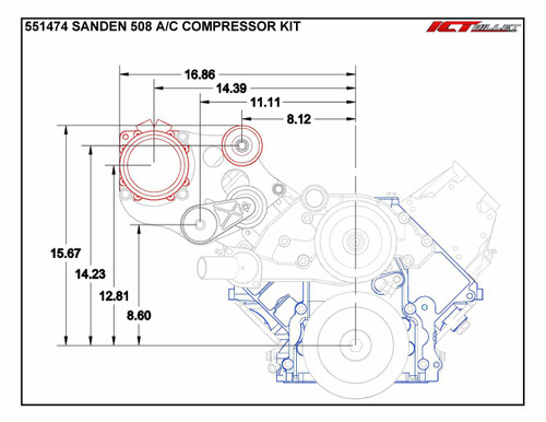 LS Truck - Sanden 508 A/C Air Conditioner Compressor Bracket Kit LS1 LS3 LSX AC