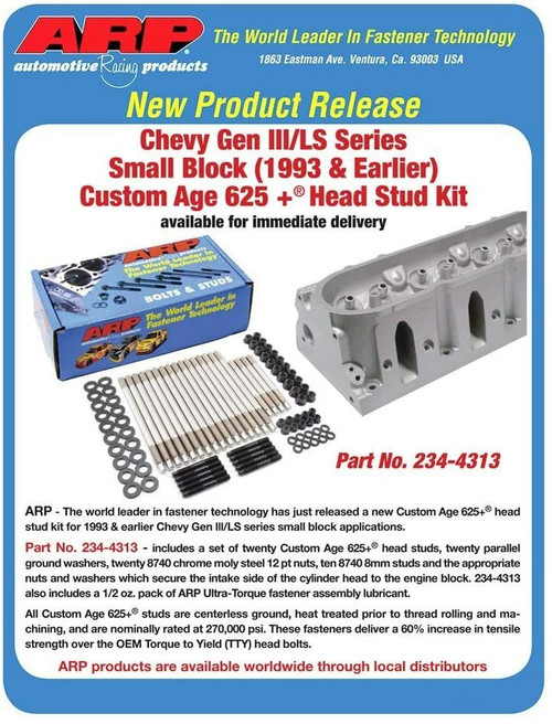 ARP 234-4314 CA625 04 and up Pro Series High Performance Cylinder Head Stud Kit GEN III/IV LS