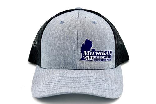 Michigan Motorsports Heather Grey Charcoal Trucker Hat Richardson 115