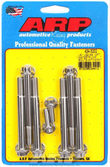 ARP 434-3202 Gen3/4 LS Water Pump & Thermostat Housing Bolts 12pt Polished Stainless LS1 4.8 5.3 5.7 6.0 6.2