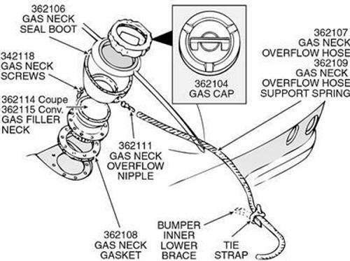 Corvette Gas Cap 1963-1974 New Reproduction Fits GM 3952708