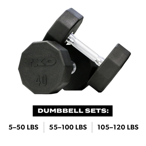 Ten Sided Pro Rubber Dumbbell Set