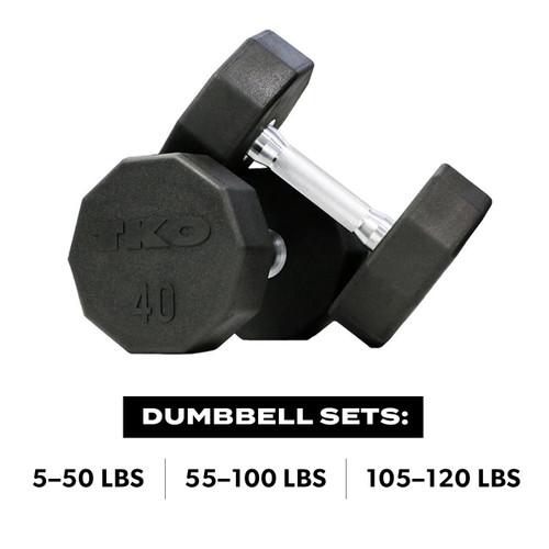 Ten Sided Pro Rubber Dumbbell Set