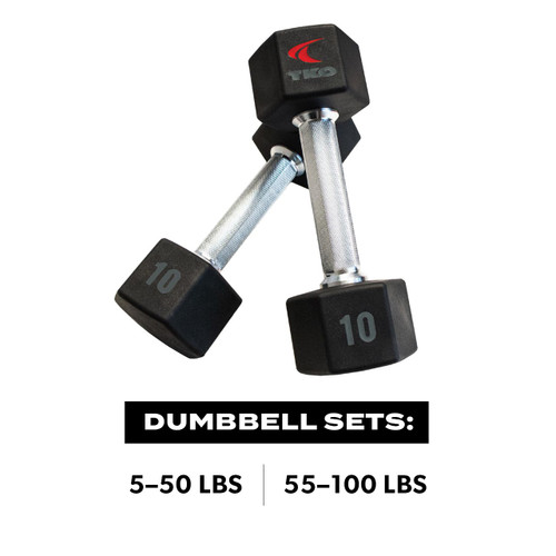 TKO Tri-Grip® Urethane Hex  Dumbbells