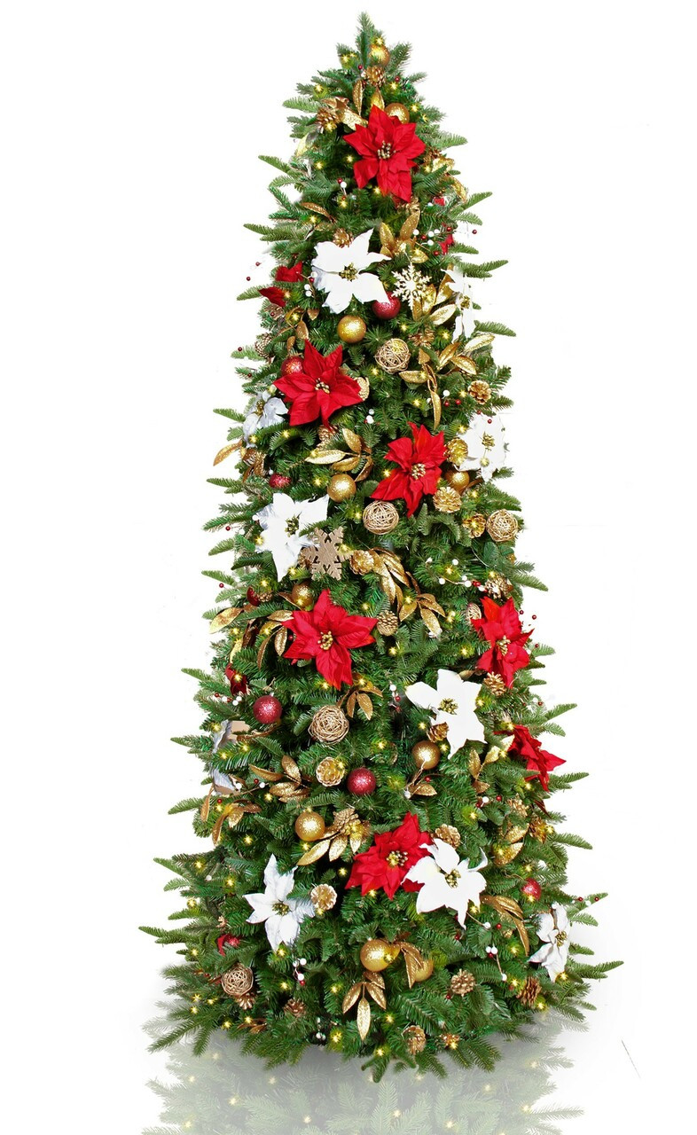 Easy Treezy 7 5 Ft Pre Lit Pre Decorated Slim Red Gold White Christmas Tree Esbenshades