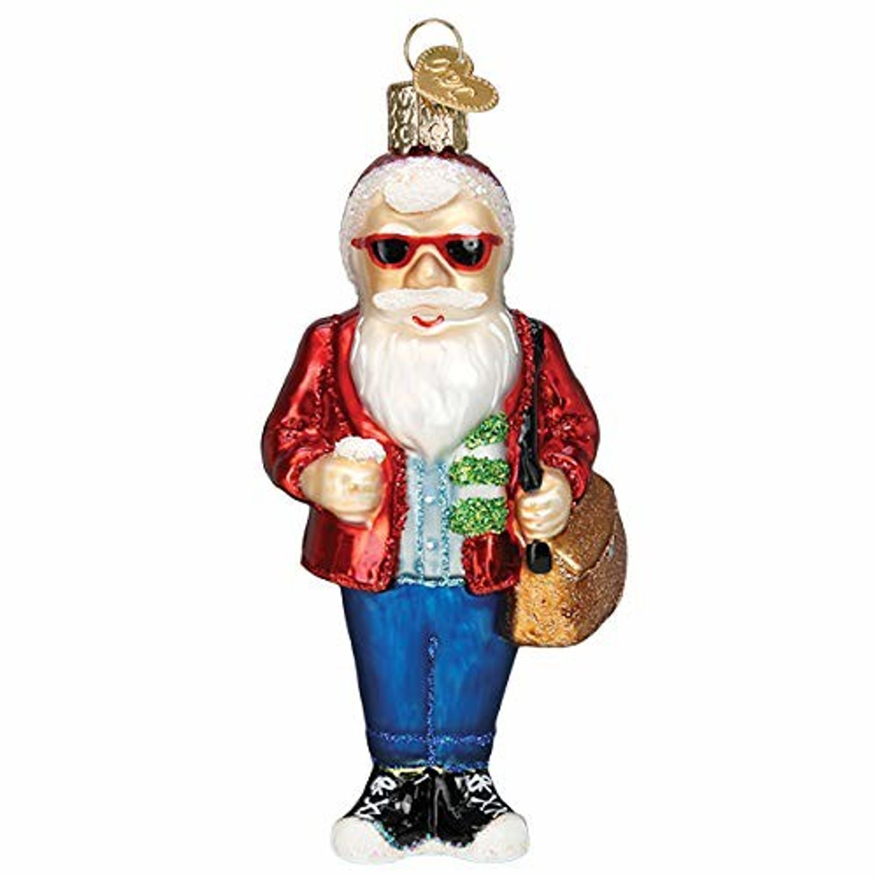 Santa Selection Old-World Christmas Glass Blown Ornament with S-Hook and Gift Box Hipster Santa, 40311