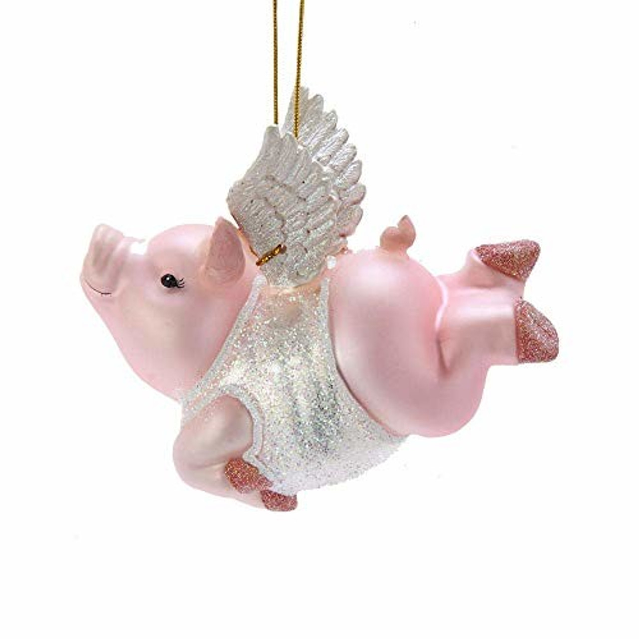 Kurt Adler Nb1456 Noble Gems Flying Pig Glass Ornament Esbenshades