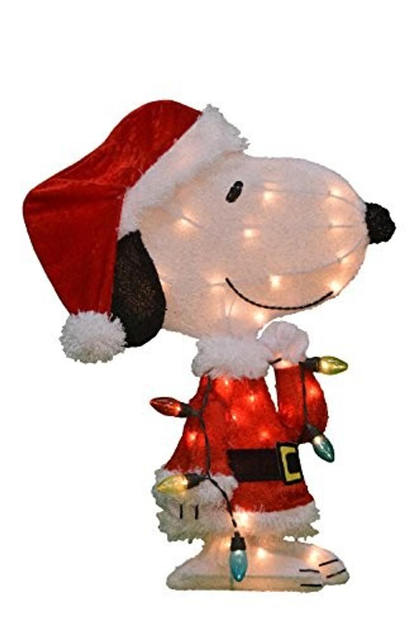 "ProductWorks Peanuts Pre Lit Snoopy in Santa Hat Christmas Yard Art 24"""
