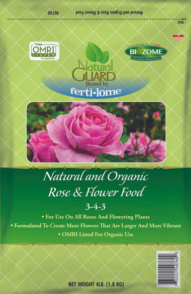 Fertilome Natural Guard Natural and Organic Rose and Flower Food 3-4-3, 4lbs