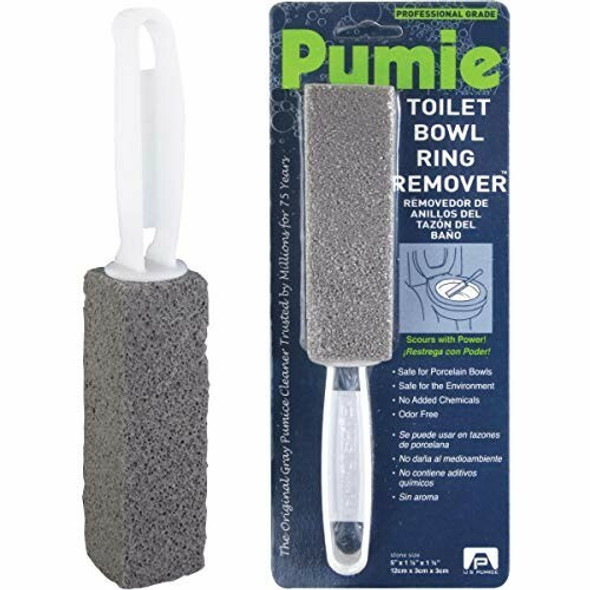 Toilet Bowl Ring Remover, TBR-6, Grey Pumice Stone with Handle, Removes Unsightly Toilet Rings, Stains from Toilets, Sinks, Tubs, Showers, Pools, Safe for Porcelain