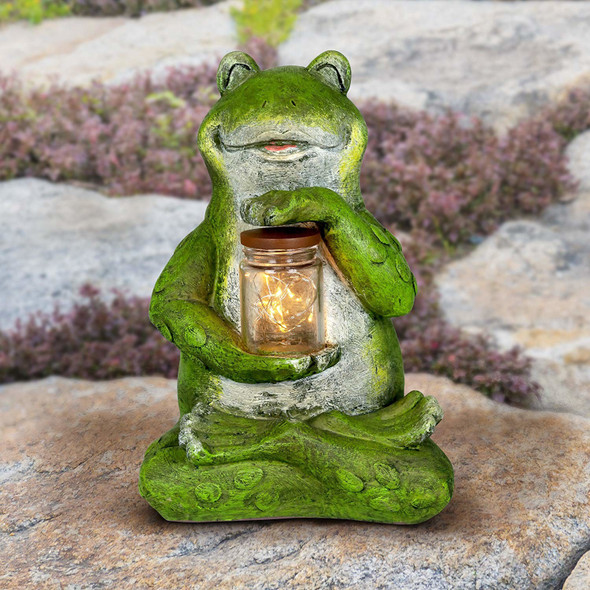 Exhart Animal Firefly Jar Statue, Solar Powered, Weather Resistant