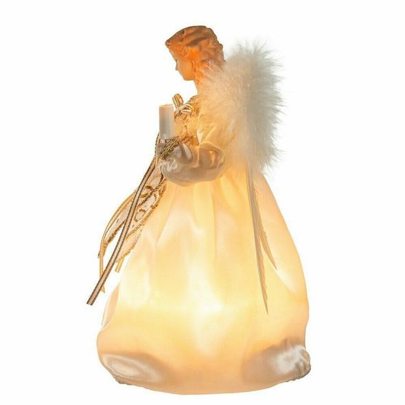 Kurt Adler 10-Light 9 Inch Ivory and Gold Angel Treetop