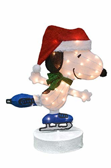 """ProductWorks 36"""" Peanuts Pre-Lit 2D Motorized Yard Art Skating Snoopy"""