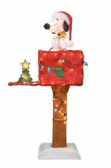"""ProductWorks Peanuts Yard Art Decoration Snoopy on a Mailbox 40"""""""