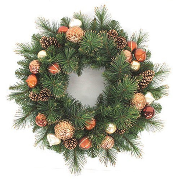 Equinox 2 CPC-406-26 Holiday Wonderland Artificial Wreath with Copper, Chocolate and Pearl Ornament Balls and Pine Cones, 26-Inch, Cappuccino