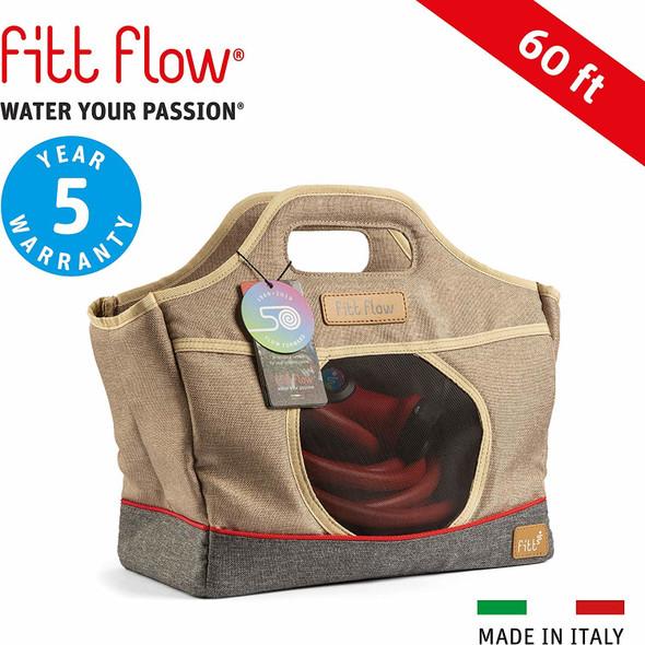 FITT Flow Expandable Patio Garden Hose Multi-Pattern Nozzle & Storage Bag 60FT