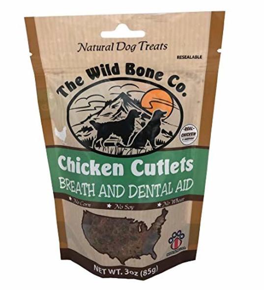 Wild Bone Company Chicken Cutlets Breath and Dental Aid Dog Treats, 3 oz.