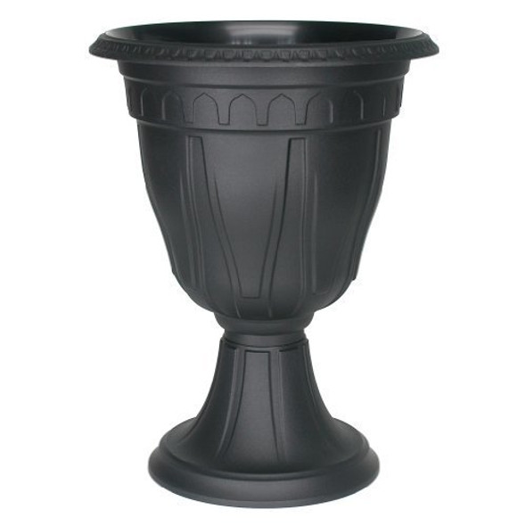 DCN Plastic DCN142036 Tall Azura Urn Planter, Black, 20 inch height