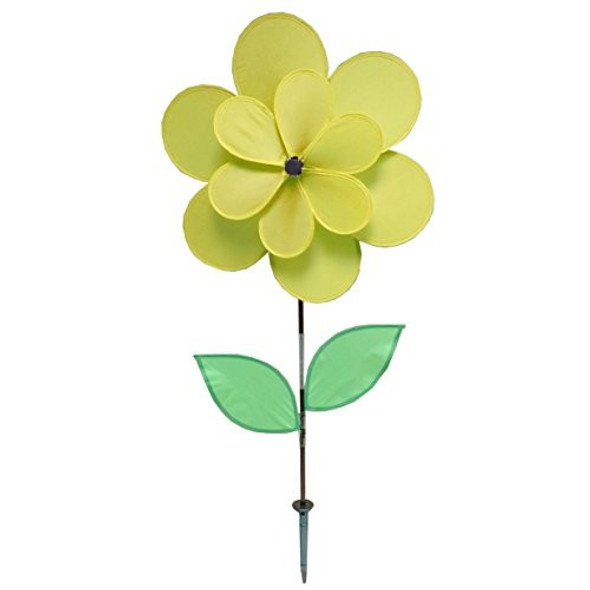 """Gardener's Select A005A Double Petal Pin Wheel, Yellow, 18 x 18 x 28"""""""