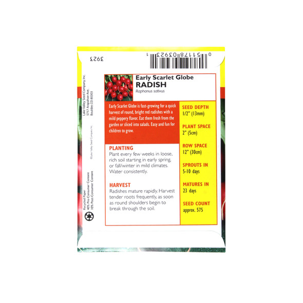 Radish Early Scarlet Globe Heirloom Seeds