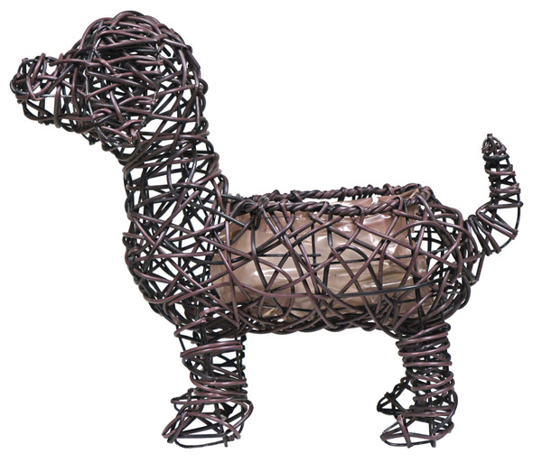 "Gardener Select GSARA815M Synthetic Rope Dog Planter Topiary, Brown, 13"""