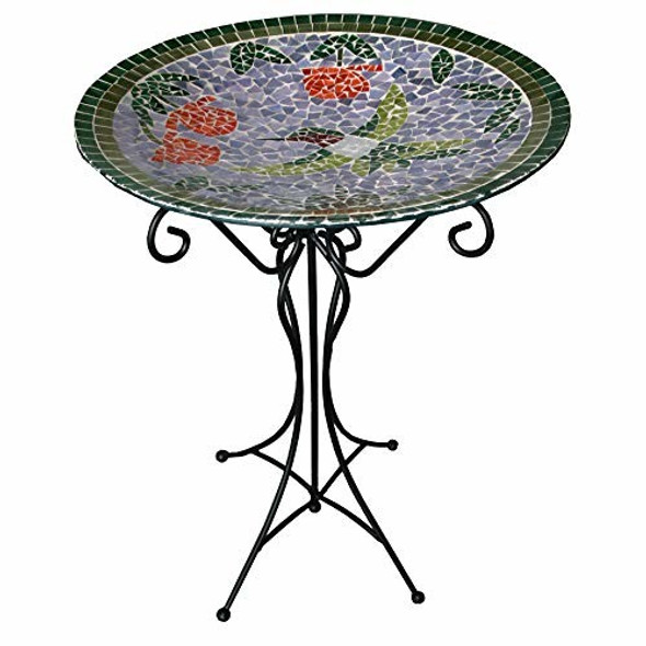Gardener's Select Mosaic Glass Bird Bath with Hummingbird Design