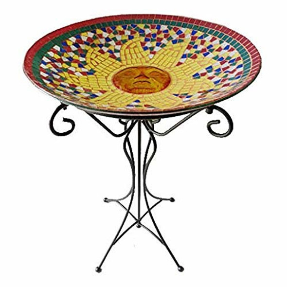 Gardener's Select Mosaic Sun Design Glass Bird Bath and Stand