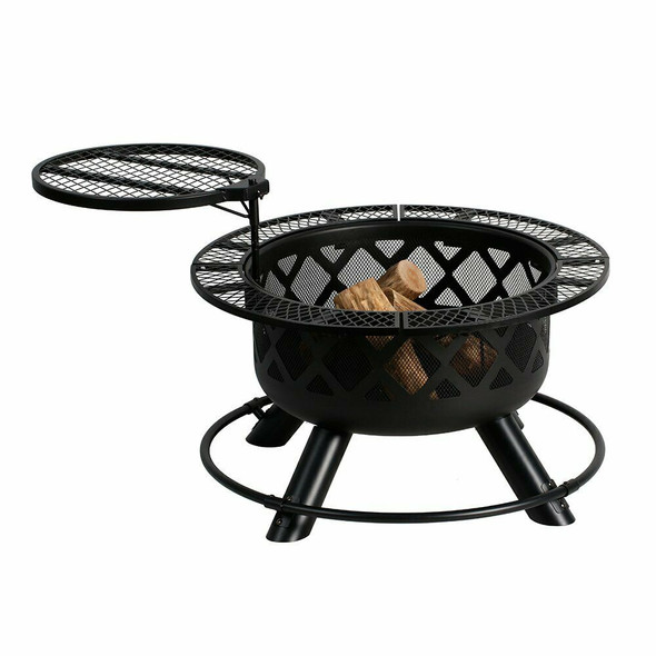 """Shinerich Industrial Outdoor Circular Ranch Fire and Grilling Metal Pit, Black, 24"""""""