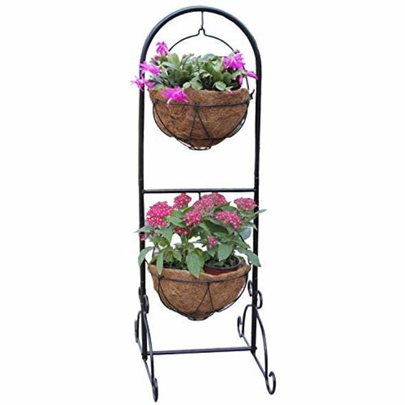 "Gardener Select GSALU1206 2 Basket Wire Patio Planter, 42"", Black"