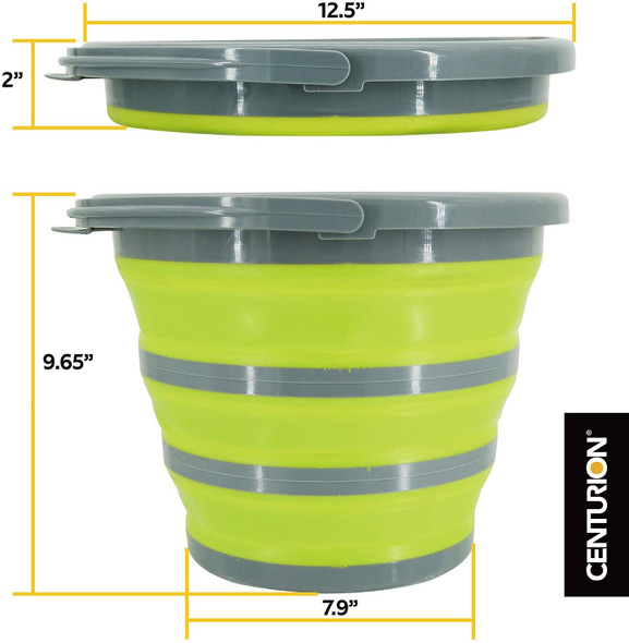 Centurion C100 1402 Plastic Collapsible Bucket, 2.65 gallons, Lime Green/Grey