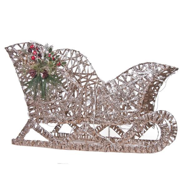 "Good Tidings Champagne Flat Christmas Sleigh Home Decoration PVC, 24"""