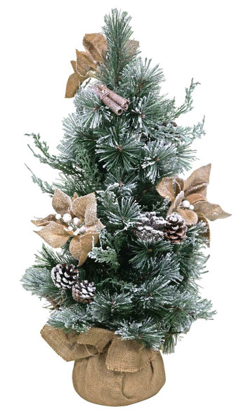 """Winchester Artificial Table Top Christmas Tree W/Pointsettia And Cones, 24"""""""