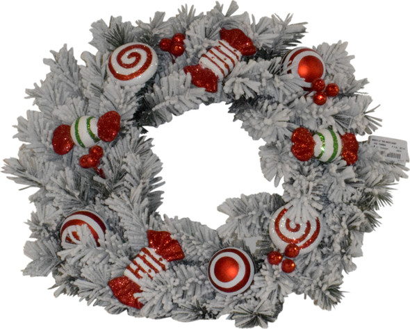 Good Tidings (#G48 790884) Red/ White Holiday Candy Wreath, 24 inches